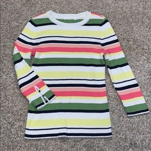 1901 Button Detail Ribbed Striped Crew Top Medium